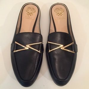Vince Camuto Black and Gold Loafers Mules 9.5